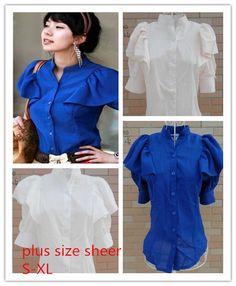 summer 2014 new fashion Lotus leaf sleeve stand collar slim plus size sheer casual chiffon blouse & shirts US $9.37