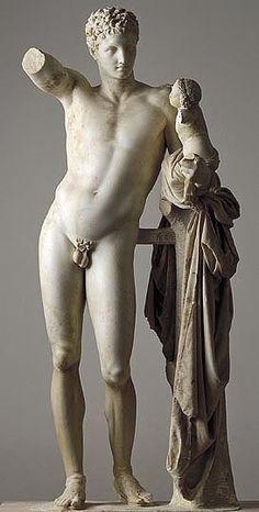 Prassitele, Hermes con Dioniso bambino, ca 340-330 a.C. Copia o originale in marmo, scolpito a tutto tondo, altezza 215 cm. Olimpia, Museo Archeologico.