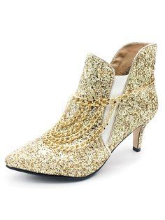 cd64f279ddd4 Glitter Ankle Boots Women s Pointed Toe Chain Detail Kitten Heel Booties