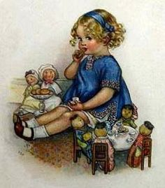 bumble button: Little girls and their dolls 19th century paintings Victorian and Edwardian postcards
