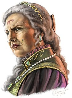 Formidable. Beautiful portrait of an older woman frowning, fantasy clothing and jewelry. Remind me of an Aes Sedai.
