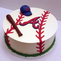 Atlanta Braves Grooms Cake  Yummy red velvet cake iced in buttercream and decorated with fondant accents view more at www.freshbakedva.com