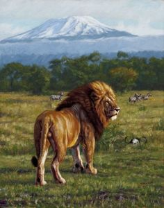 """The King of Kilimanjaro"" by John Banovich, 14x11 Oil on Belgian Linen"