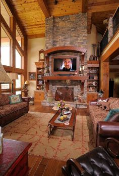 Great Room Rustic Fireplace