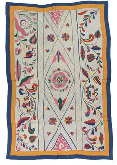 West Bengal Kantha, probably made in West Bengal, India, circa 1975-2000. A Hindu tradition for various celebrations is to make pictures on the ground using colored rice paste. In Bengal, these floor paintings are called alpana and have religious and ceremonial, as well as artistic, purposes. This kantha resembles the format and design of some alpanas. The center shape, a lotus flower mandala, symbolizes the spiritual core of the universe.