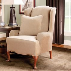 Add color and texture to your room with the new Sure Fit Stretch Stripe Wing Chair Slipcover. The subtle stripe pattern and four decor-friendly colors blend well with any room setting. Wingback Chair Slipcovers, Sure Fit Slipcovers, Ottoman Slipcover, Furniture Slipcovers, Furniture Refinishing, Ottoman Furniture, Furniture Covers, Furniture Ideas, Casual Decor