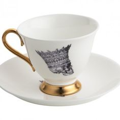 Skull Profile in Crown Jubilee Teacup and Saucer