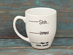 A mug for when it's too early for little voices.
