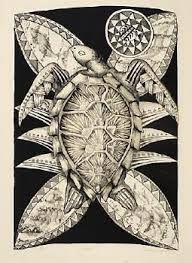 Title: Laumei Artist/creator: Michel Tuffery Production date: 1988 Medium: lithograph Dimensions: 674 x 465 mm Tapas, Auckland Art Gallery, Polynesian Art, New Zealand Art, Jr Art, Hawaiian Art, Madhubani Art, Turtle Painting, Maori Art