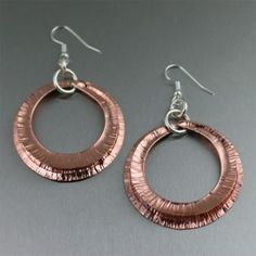 Handmade copper earrings include immediate elegance and chic to any outfit. Numerous designs are ending up being fashion-forward styles as increasingly more handmade jewelry designers integrate copper into their collections. Copper Earrings, Unique Earrings, Copper Jewelry, Fine Jewelry, Hoop Earrings, Jewellery, Copper Anniversary Gifts, 7th Anniversary, Do It Yourself Jewelry