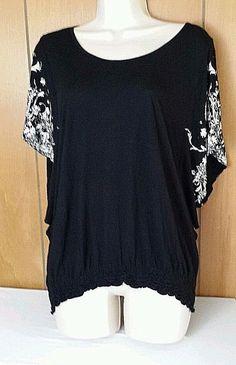 "Blouse Top Shirt. White Floral Split Sleeves. Bust - 17"". Size 12. | eBay!"