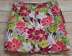 CROFT & BARROW Orange Green Floral Classic Fit Skort /Shorts and Skirt Size 8