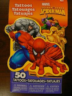 Marvel Spider-Man 3D Novelty Pack of 50 Temporary Tattoos by Savvi. $3.99. High Quality and Long Lasting. Easy to Apply and Remove. Made in the USA. FD Approved Ingredients, Does Not Contain Lead. Contains 50 Temporary Tattoos. Savvi's temporary tattoos are made in the USA using vegetable inks and ingredients that are FDA and FD approved. The tattoos are applied with water and last for several days. They can be removed with baby oil or rubbing alcohol. The pack contains 15 sh...