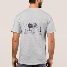Elephant Escalator gray cartoon shirt back - humor funny fun humour humorous gift idea