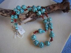 Turquoise Necklace of polymer clay beads with by Barbarasartistry, $35.00