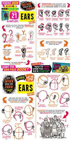 Here's my how to THINK when you draw EARS tutorial, from my 200 PAGE full colour HARDBACK tutorials BOOK, which is available for JUST TWENTY-ONE MORE DAYS on KICKSTARTER! Go get your copy NOW, FROM THE KICKSTARTER RIGHT HERE! :) Lorenzo!