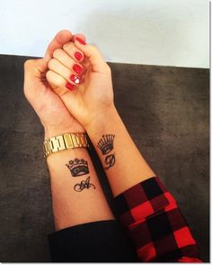 Small Crown Tattoo on Wrist for Couples