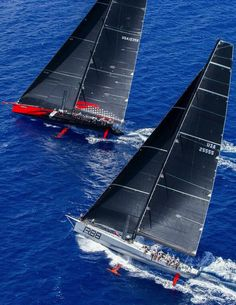 comanche vs. rambler 88 at les voiles de st. barth - photo by christophe jouany - from 'Les Voiles de St. Barth: A Yachting Affair' on SailCouture.com