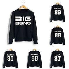 Big Bang Member Sweater  Stay cosy and warm in style with a Big Bang sweater! These black jumpers are printed with 'BIG BANG' in large white letters on the front, with the member of your choice's name (Top Bigbang Anime)