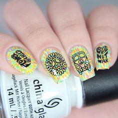 New Perfect Black Stamping Nail Polish Designs - Hairstyles Stamping Nail Polish, Nail Stamping Plates, Nail Polish Designs, Acrylic Nail Designs, Nail Art Designs, Acrylic Nails, Cute Nails, My Nails, Monster Nails