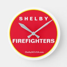 Shelby NC Firefighters Round Clock firefighter boudoir, gift for firefighter, firefighter projects #fireengineer #black #blackandtan