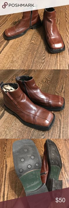 Mens boots Leather. Side zip. Made in Italy. Size euro 43. Beautiful chestnut brown. Aldo Shoes Boots