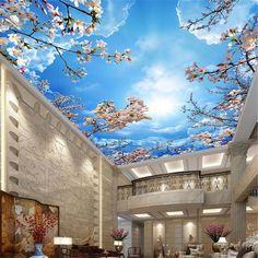 Romantico blu cielo bianco nuvole di ciliegio fiori di | Etsy Sky Ceiling, Ceiling Murals, Bedroom Ceiling, Ceiling Decor, Ceiling Design, 3d Wall Murals, Wallpaper Ceiling, Cheap Wallpaper, Wallpaper Stickers