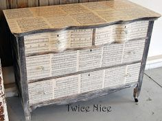 DIY:  How this Damaged Dresser was Given a Facelift - because the veneer was damaged, this blogger decoupaged sheet music to the drawer fronts and top and dry brushed the body. What an awesome way to salvage a damaged piece of furniture - via Twice Nice
