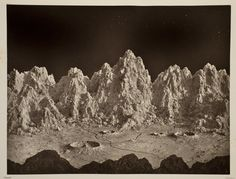 "James Hall Nasmyth and James Carpenter illustrations for book ""The Moon: Considered as a Planet, a World, and a Satellite"" 1874 photographs of fabricated plaster models."