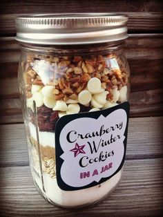Cranberry Winter Cookies in a Jar | Fall-Inspired Mason Cookie Jar Recipe, check it out at 10-fall-inspired-mason-jar-cookie-recipes