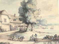 Thomas Rowlandson >> The Noah's Ark Inn and ferry | (, artwork, reproduction, copy, painting).