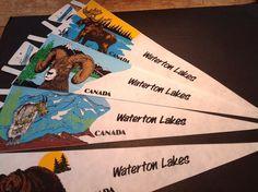 Pennant Vintage Souvenir Canada #WatertonLakes Lot 4,Moose,Bear,Ram,Mtn Goat