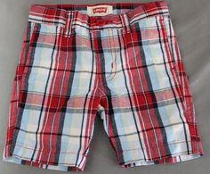 NWOT Levi's Size 12M Shorts Infant Boys Red Blue Plaid   #Levis #Casual