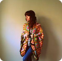 Kimono Sleeve Shrug, Chunky Poncho Knit Sweater, Granny Square Yellow Black Rainbow OOAK. $93.00, via Etsy.