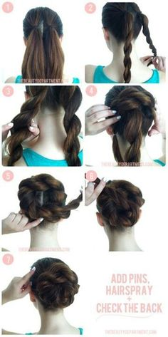 Great way to make a bun for when my hair is long again.