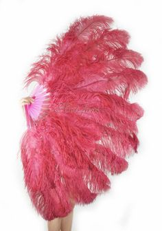 """Dark purple XL 2 layers Ostrich Feather Fan 34/"""" x 60/"""" with leather Travel Bag"""