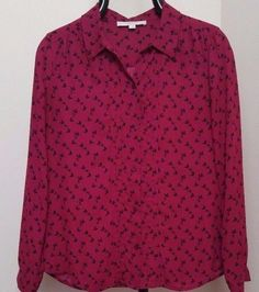 ANN TAYLOR LOFT Burgundy Button Down Pintuck Small Floral Print Shirt Blouse Top #AnnTaylorLOFT #ButtonDownShirt #CareerCasual