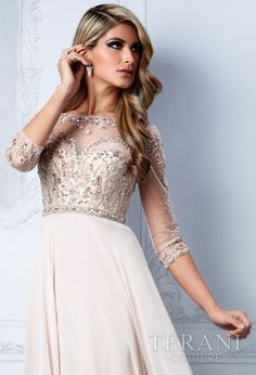 Champagne Wedding Dress / Terani Couture M2204 I love the top of this dress if I decide I want sleeves