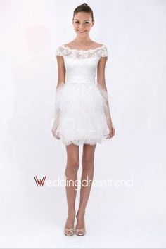 Beautiful Lovely Off-the-Shoulder Short Lace Wedding Dress - Shop Online for Cheap Wedding Dresses