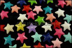 50pcs 11mm Mixed Color Faceted Star Flatback