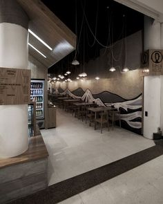 Lights ramen House restaurant by StudioMKZ, Sydney Australia restaurant Bar Interior Design, Cafe Interior, Cafe Design, Store Design, Ramen Restaurant, House Restaurant, Commercial Design, Commercial Interiors, Sushi Bar Design