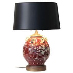 Vintage Japanese Studio Pottery Oxblood Flambe Lamp   From a unique collection of antique and modern table lamps at https://www.1stdibs.com/furniture/lighting/table-lamps/