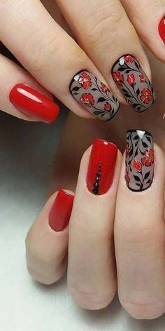 Nail art Christmas - the festive spirit on the nails. Over 70 creative ideas and tutorials - My Nails Red Manicure, Red Nails, Manicure And Pedicure, Hair And Nails, New Nail Designs, Winter Nail Designs, Pretty Nail Art, Flower Nails, Toe Nail Art