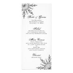 Snowflakes Winter Wedding Menu Full Color Rack Card