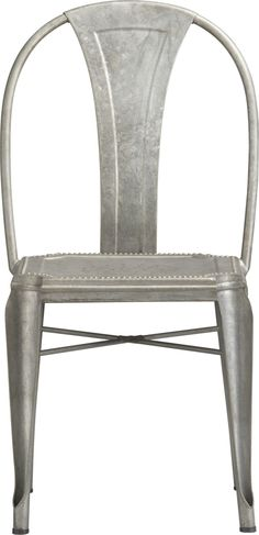 "Lyle ""tolix style"" chair from crate & barrell {I want 4 of something similar to these for the dining room & a picnic style bench on the other side} Metal Dining Chairs, Kitchen Chairs, Table And Chairs, Side Chairs, Lounge Chairs, Wood Table, Porches, Outdoor Dining, Outdoor Seating"