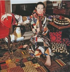 Gloria Vanderbilt _ photo by Horst P. Horst, 1970, outfit by Adolfo. Gloria portrayed the gyspet style early on. Her bedroom with Wyatt Cooper at 45 east Sixty-seventh Street was one of the most famous rooms in modern decoration. Gloria covered every surface of the room with a collage of quilt pieces, including the lacquered floor.