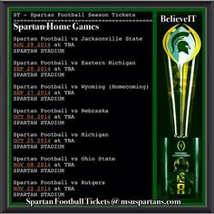 ‪#‎GotTickets‬? @MSU_Football will play 7 Games in ‪#‎SpartanStadium‬ this Season! Looking for Season or Individual Game Tickets go to msuspartans.com or contact the ticket office at tickets@msu.edu ‪#‎GetThunderstruck‬, ‪#‎GoGreen‬!! The Road to Texas runs thru ‪#‎BeastLansing‬! ‪#‎Believe‬! GO GREEN