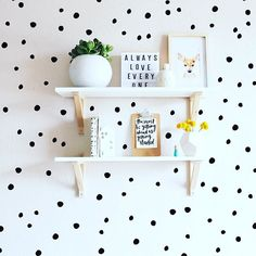 Two✌️things we love - a really fun #shelfie and walls that POP thanks to the best invention ever: wall decals Removable and reusable makes them the perfect decor for a nursery or play space! Shop wall decals over in the #pnshop via link in profile!
