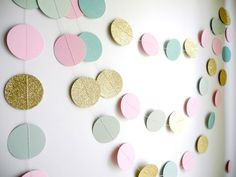 Mint Pink gold glitter garland mint green circle by HoopsyDaisies with fishing wire and foam