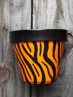 Tiger Print 6 Inch Flower Pot by DrSkippersJungleHut on Etsy